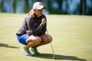 Ericka Schneider lines up a putt at the 10th hole during the second round of the Tullymore Classic on Saturday, July 2, 2016.  (Andrew Knapik Photography)