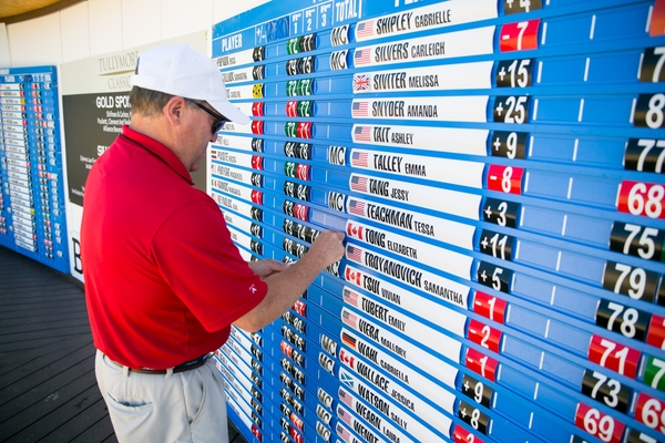 A volunteer updates the tournament leaderboard during the final round of the Tullymore Classic on Sunday, July 3, 2016.  (Andrew Knapik Photography)
