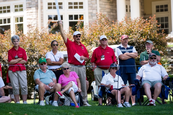 Volunteer course marshals keeps the crowds quiet during the final round of the Tullymore Classic on Sunday, July 3, 2016.  (Andrew Knapik Photography)