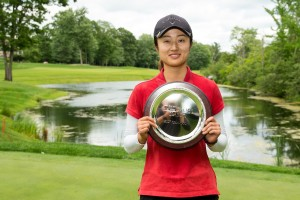 Yu Liu poses with her championship trophy after winning the 2017 Tullymore Classic on Sunday July 2, 2017 at Tullymore Golf Course in Canadian Lakes, Mi.   Andrew Knapik Photography